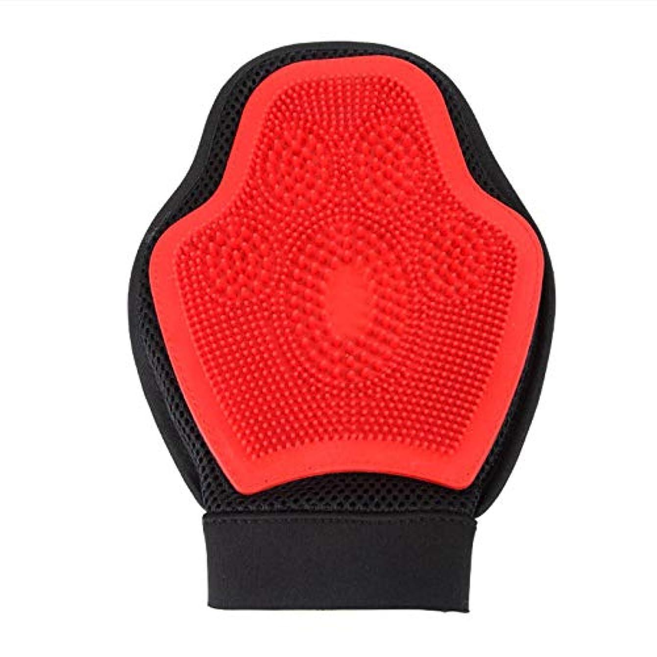 十年嵐の知り合いになるBTXXYJP 手袋 ペット ブラシ グローブ 猫 ブラシ クリーナー 抜け毛取り ブラッシング マッサージブラシ 犬 グローブ ペット毛取りブラシ お手入れ (Color : Red, Size : L)