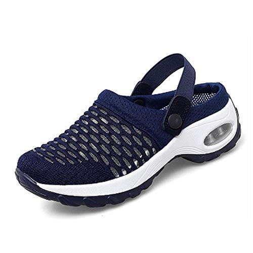 OEMINI Women's Orthopedic Walking Sandals, Breathable Casual Air Cushion Slip-on Shoes Sandals Walking Running Shoes (39,Blue)