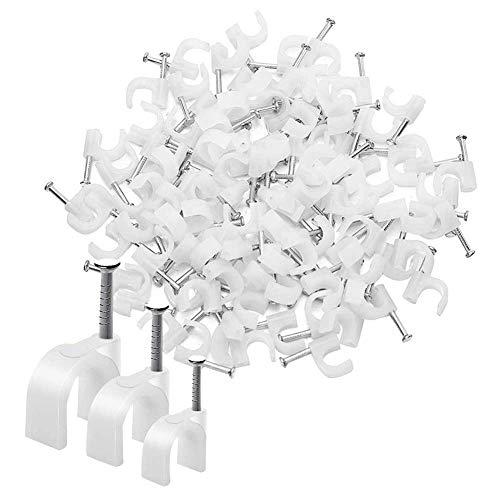 UOWAN 300 Clips de Cable Redondos Blancos Surtidos de 6 mm, 8 mm, 10 mm, Acero para la gestión de Cables de Clavos, para teléfono, Timbre de Pared, Cable para Cable Ethernet, Cable de TV
