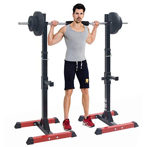 ISE Cage de Squat Supports de Squat Réglable Squat Rack avec Barres de Support Charge Max.200...