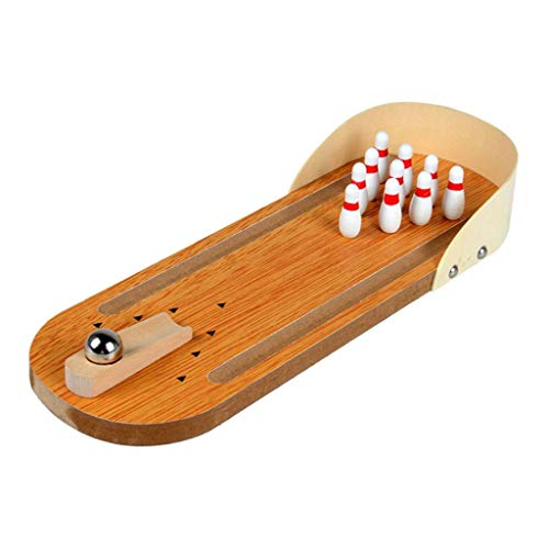 New LEIPUPA Mini Wooden Desktop Bowling Game, Classic Desk Ball Toys Set for Kids and Adults - Compa...