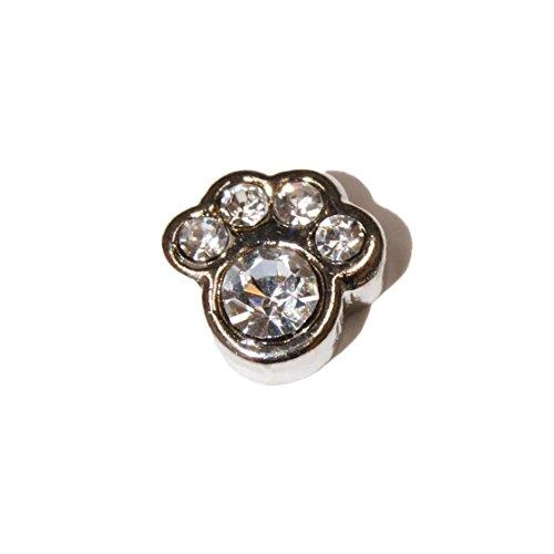 Pawprint claro piedras–6mm encanto flotante para Memoria Viva Lockets y Origami búho estilo Lockets