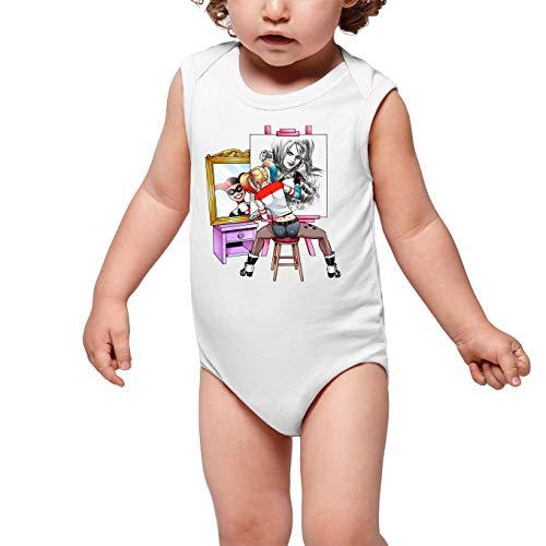 Batman - Suicide Squad Lustiges Weiß ärmelloser Baby Strampler - Harley Quinn (Batman - Suicide Squad Parodie) (Ref:1109)