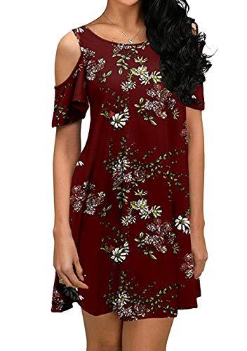 OMZIN Casual Kleid für Damen Mini Rundhals Sexy Kleid Strandmode Sommerkleid Tunika Schulterfrei Elegant Rundkragen T-Shirtkleid Lose Kleid Weinrot Blumen M