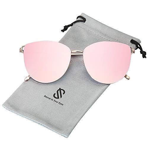 SOJOS Retro Runde Katzenaugen Sonnenbrille Mirrored Metall Flach Linsen SJ1085 mit Gold Rahmen/Verlauf Rosa Linse