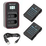 Newmowa EN-EL14 Batería de Repuesto (Paquete de 2) y Cargador USB Dual con Pantalla LCD Inteligente para Nikon EN-EL14,EN-EL14A y Nikon P7000,P7100,P7700,P7800,DF,D3100,D3200,D3300,D3500