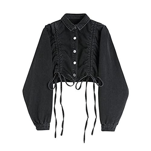 UKKO Jeansjacke Herbst Gefaltete Button Denim Jacke Frauen Hip Hop Street Style Cropped Kordelzug Breasted Denim Mäntel Frau-M,Black