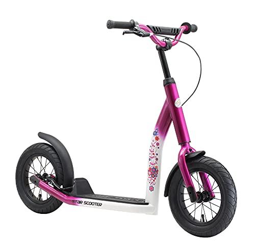 STAR SCOOTER Patinete Infantil 2 Ruedas a Partir de 7 años | Kick Scooter 12' neumáticos, Ajustable en Altura para niñas y niños | Rosa