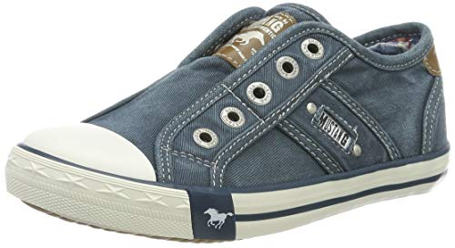 MUSTANG Unisex Kinder 5803-405-87 Slip On Sneaker, Blau (Blau/Grün 87), 33 EU