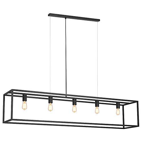 Raffinierte Hängeleuchte in Schwarz Bauhaus Design 5x E27 bis zu 60 Watt 230V aus Metall, für...