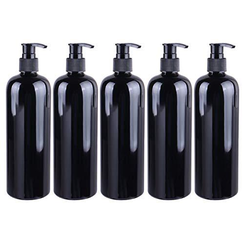 Solustre 5 Stücke Pumpflasche Pumpspender Nachfüllbar Pumpseifenspender 500ml Duschgel Pumpe Gelspender Hygiene Reinigung Flüssigkeiten Flasche für Küche Bad Außen Schwarz