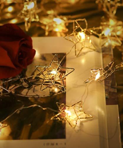 Goodia Golden Star String Lights, Battery Powered 16.4ft 50 LEDs Indoor Starry Fairy Lights, 8 Modes Metal Design Window Curtain...