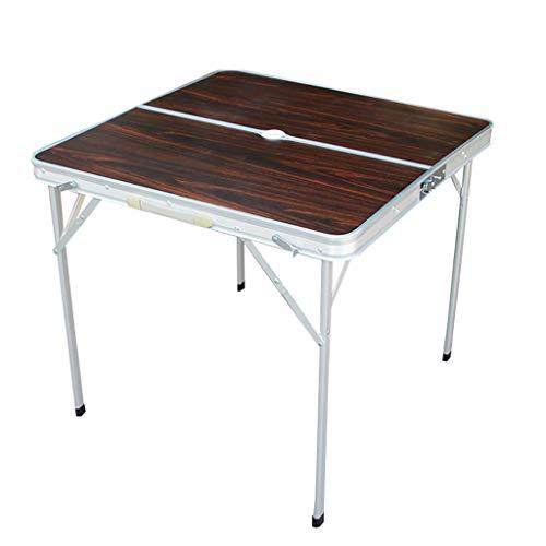 C-J-Xin Silla de mesa plegable al aire libre, mesa cuadrada pequeña de picnic, hogar, mesa de Mahjong simple Material de la aleación de aluminio del estante del almacenamiento de la mesa Mesas auxilia