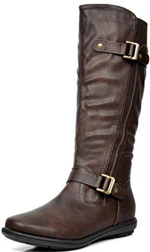 DREAM PAIRS Women's Trace Brown Faux Fur-Lined Knee High Winter Boots Size 8 M US
