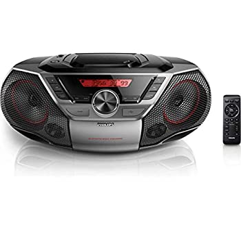 Philips AZ700T Bluetooth CD Soundmachine USB FM Radio Boombox Portable Personal Stereo System with Digital Display Station Presets and Remote Control Black