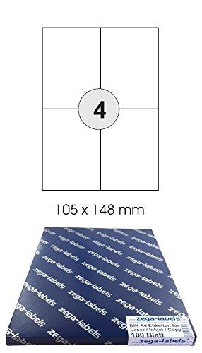 400 Etiketten 105 x 148 mm selbstklebend auf DIN A4 Bögen (2x2 Etiketten DIN A6) - 100 Blatt Pack - Universell für Laser/Inkjet/Kopierer einsetzbar - 105x148mm 4-teilig