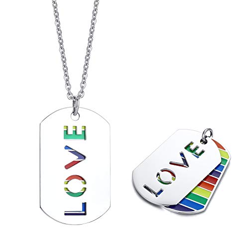 Nanafast Rainbow LGBT Necklace Stainless Steel Dog Tag Rainbow Necklace for Gay & Lesbian Rainbow Pride Jewelry Gifts Love