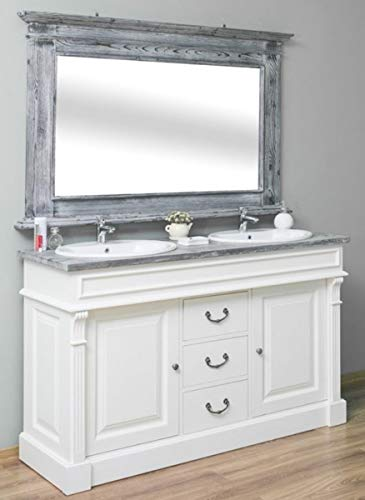Casa Padrino Landhausstil Badezimmer Set Weiß/Grau - 1 Doppelwaschtisch & 1 Wandspiegel - Massivholz Badezimmermöbel im Landhausstil