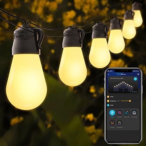 Govee 48ft Outdoor String Lights with Bluetooth App Control, Waterproof Shatterproof Patio Lights...