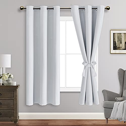 ROSETTE Blackout Curtains with Tiebacks - Thermal Insulated, Light Blocking and Noise Reducing Grommet Curtain Drapes for Bedroom and Living Room, Set of 2 Panels, Greyish White, 42 x 63 Inch Length