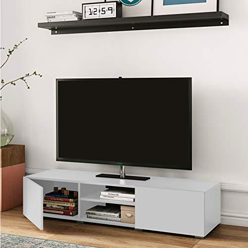 Banc TV Podium 140 2 portes, Bianco, 140 x 42 x 31 cm (L-P-A)