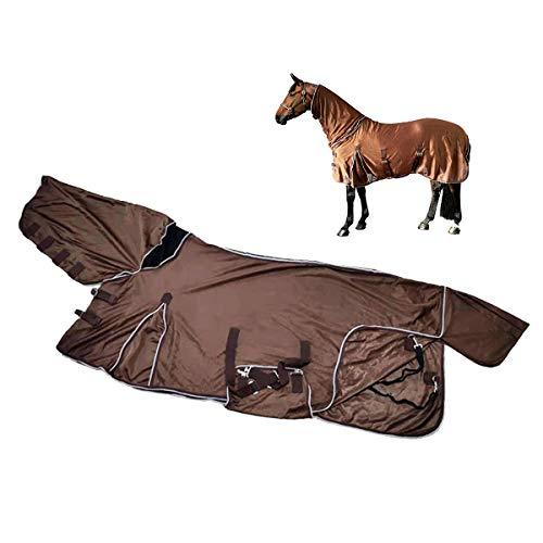 Pony Fly Rug Funda de malla suave adjunta para el cuello, manta para el sudor de Horse Pony con correa cruzada Alfombra de caballo transpirable de secado rápido, cubierta de cuello combinada,1