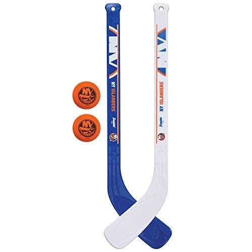 Franklin Sports New York Islanders NHL Mini Hockey Stick Set - NHL Team Knee Hockey Stick and Ball Set - Two Player Stick Set - Great Toy for Kids