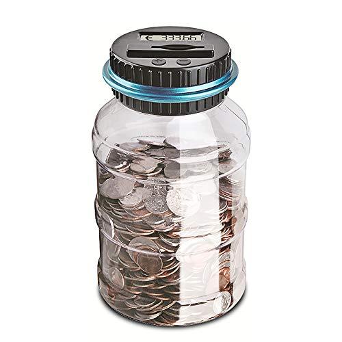 Konesky Contador de Hucha Digital, Hucha Digital para Monedas, Caja de recuento de Billetes, Tapa LCD, contenedor de Monedas, 1,5 l, Gran Capacidad, Regalo para niños (Euro)