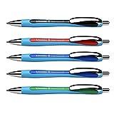 Schneider Slider Rave XB Kugelschreiber (Strichstärke: XB, dokumentenechte Mine, Made in Germany) 5 Stück, Schreibfarbe: 2x blau, schwarz, rot, grün