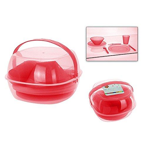 Koopman Picknick-Set im Tragekoffer, Kunststoff, für 4 Personen, rot, 30-teilig (1 Set)