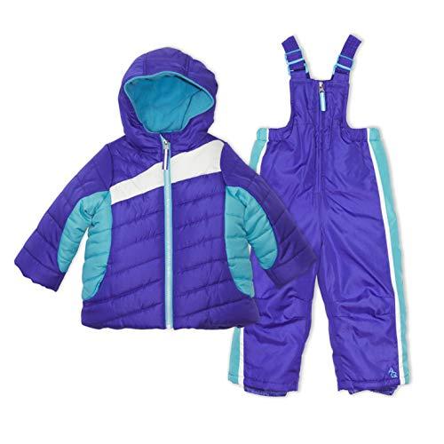 Arctic Quest Infant Girls Color Block Fleece Lined Hood and Snow Bib Pants Set, Purple & Turquoise, 12M