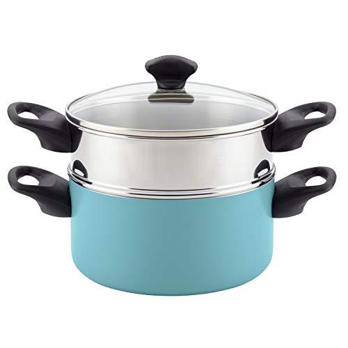 Farberware Dishwasher Safe Nonstick Sauce Pot/Saucepot with Steamer Insert with Lid, 3 Quart, Aqua Blue