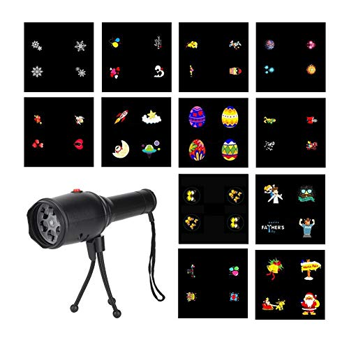 Luces de fiesta, Proyector LED Luz de estado de ánimo Linterna Proyector Luz Luces de Disco 2-5 Metros cuadrados Área de Luz Proyector Luz 12 Tarjetas de patrón de película (Imagen 1 a Imagen 12)