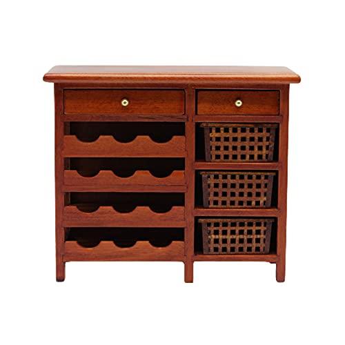 osyare 1/12 Gabinete De Vino En Miniatura Simulación DIY Decoración Madera Casa De Muñecas Exhibición Modelo De Muebles para Decoración marrón