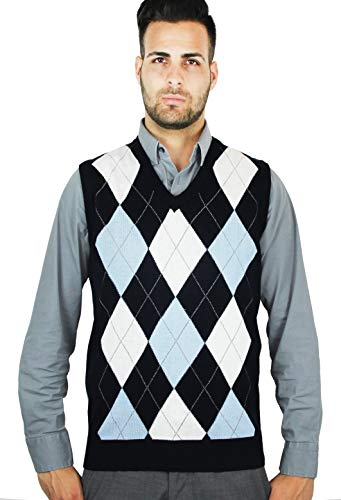 Blue Ocean Argyle Sweater Vest-X-Large Navy-White