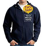 Custom Full Zip Hooded Sweatshirt For Men Design Your Own Two-sided Print For Boys
