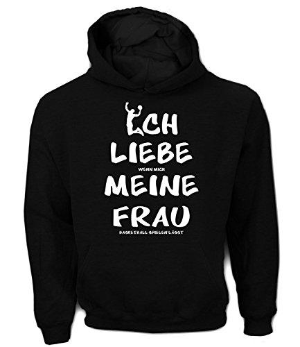 Artdiktat Herren Hoodie | Ich Liebe Wenn Mich Meine Frau Basketball Spielen Lässt | Funshirt Humor Fun Spaß Kult Spruch Größe S, Schwarz