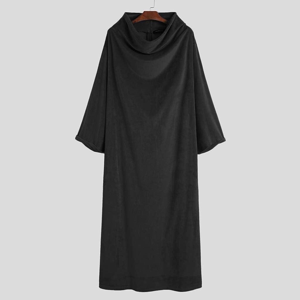 XJJZS Men Fleece Robes Long Sleeve Homewear Solid Turtleneck Nightgown Comfortable Leisure Loose Soft Warm Men Bathrobes S-5XL (Color : Black, Size : Medium)