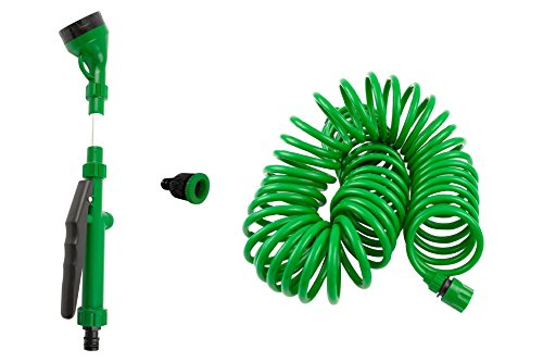 Coiled Garden Hose with Quick Connect - 5 Pattern Sprayer - Flexible Water Hose - Expanding, No Kink Hose, Best Yard, RV, Gardening Gifts for Men or Women – Outdoor and Lightweight 3/8 X 50ft Hose Set
