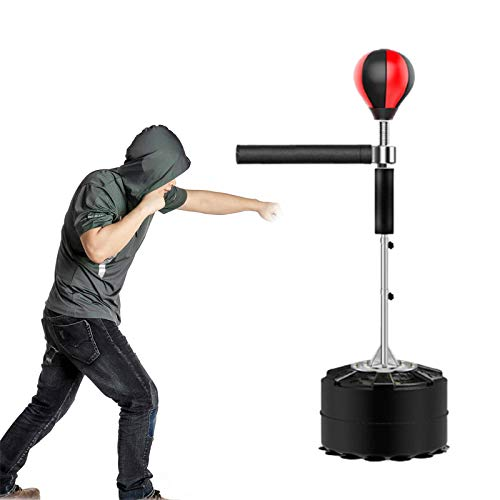 HNWTKJ Punching Ball, Saco Boxeo Pie con Bolas de Velocidad, Base de Barril Grande y Estable, Fácil de Instalar, Genial para Entrenar la Habilidad, la Agilidad y la Coordinación