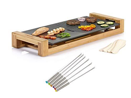 Tapanyaki Grill & 6 tapijtvorken, tafelgrill voor balkon, elektrische grill met bamboe behuizing, grote grillplaat 25x50cm, 1800 Watt