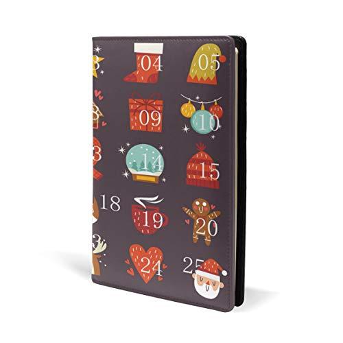 Copertina per calendario dell'avvento in pelle, per scuola, ufficio, quaderno con copertina rigida, formato A5, 14,8 x 22 cm, per ragazze e ragazzi