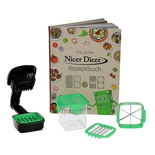 Genius Nicer Dicer Quick 7tlg. Set + Original Rezeptbuch I bekannt aus Werbung + TV I Zerkleinern direkt in Pfanne, Schüssel, Topf + versch. Einsätze