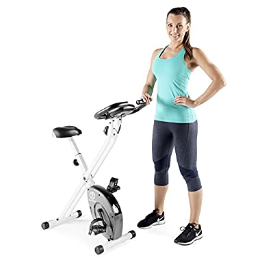 Marcy Foldable Exercise Bike with Adjustable Resistance for Cardio Workout and Strength Training NS-652