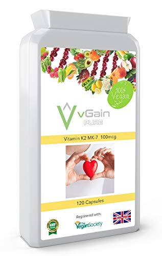 Vitamin K2 MK-7 100µg Capsules by vGain PURE - Certified Vegan by The Vegan Society – High Strength Vitamin K2 Menaquinone MK7 – Can Provide Normal Bone & Cardiovascular Support - for Men & Women