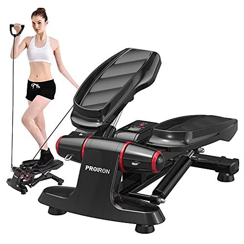 PROIRON Stepper con Pantalla Multifuncional y Cintas de Entrenamiento-Máquina de Step para Hacer Ejercicio de gluteos y Cardio (Negro)
