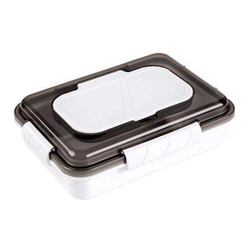 AIYIFU Fiambrera, Caja Bento a Prueba de Fugas para Niños Adultos, Recipiente de Comida de 1000 ml con 3 Compartimentos y Juego de Cubiertos, Recipientes Seguros para Preparar Comidas Sin BPA,White