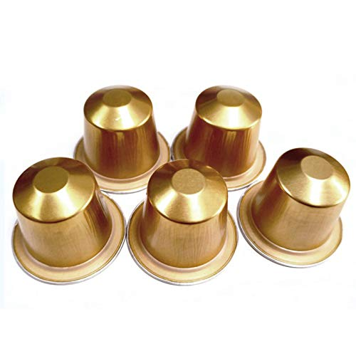 RETYLY 100 Set di Chicchi di caffè USA e Getta Ricaricabili per Capsule di caffè per Nestlé Forniture Automatiche per caffè - Oro