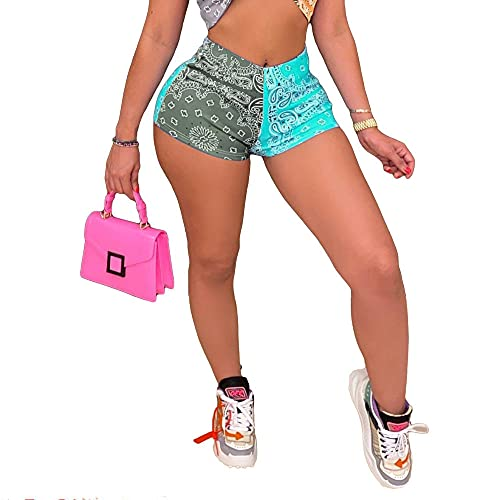 ArcherWlh Yoga Pants for Women High Waist,Ins Europa und die Vereinigten Staaten Neues Gefühl der kurzen Hosen Muster Drucken Mode Casual Hip Yoga Hosen Weiblich-# 7 grau + blau_XL.