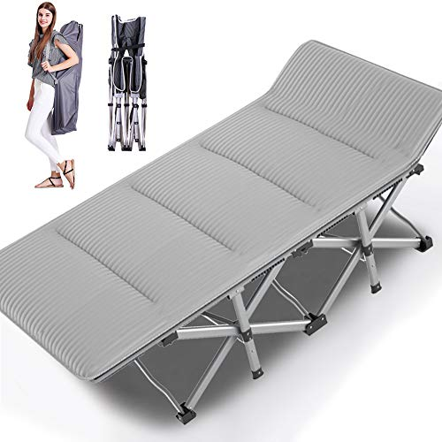 NAIZEA Folding Camping Bed Camping Cots for Adults, Heavy Duty Lightweight Portable Foldable Outdoor Bed with Carry Bag, Military Cot for Camping Outdoors Office Use (with Corduroy pad)